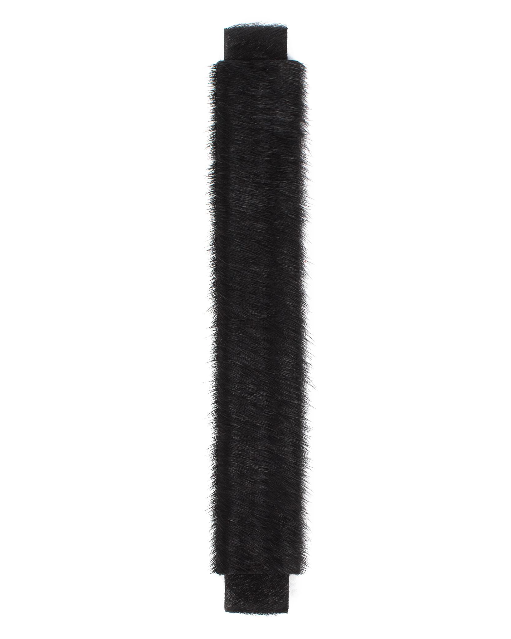 Сменная ручка черного цвета из меха пони