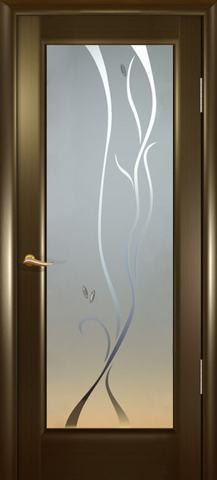 Дверь Океан Новая волна Р, стекло белое, цвет венге, остекленная