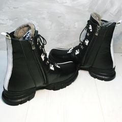 Ботинки женские зимние на шнуровке Ripka 3481 Black-White.