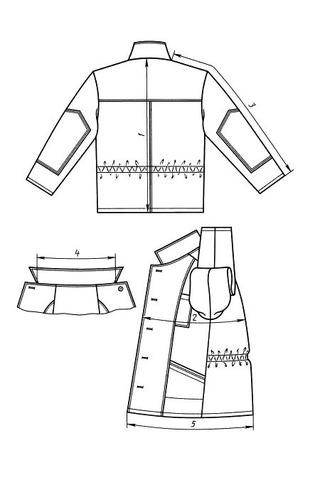 Выкройка классического рабочего костюма технический рисунок куртка