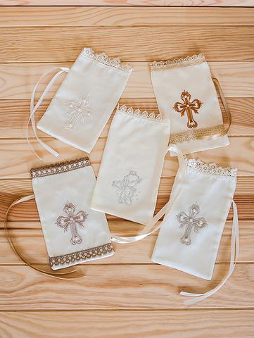 Крестильный мешочек с вышивкой (кремовый)