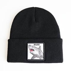 Вязаная шапка с принтом (эмблемой) Акулы черная