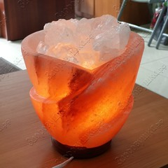 Солевая лампа Вазон с кристаллами