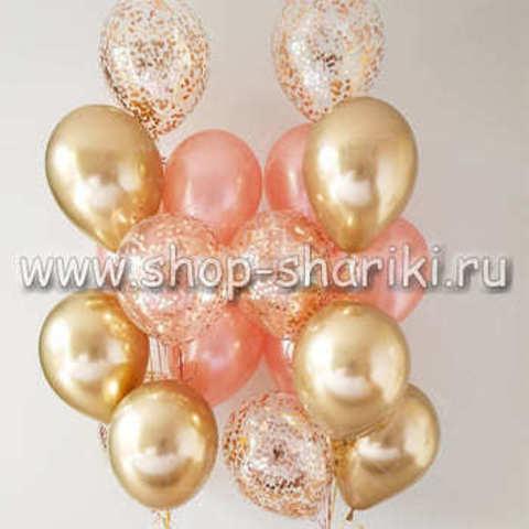 фонтан из шаров розовое золото золото хром и шары с золотым конфетти