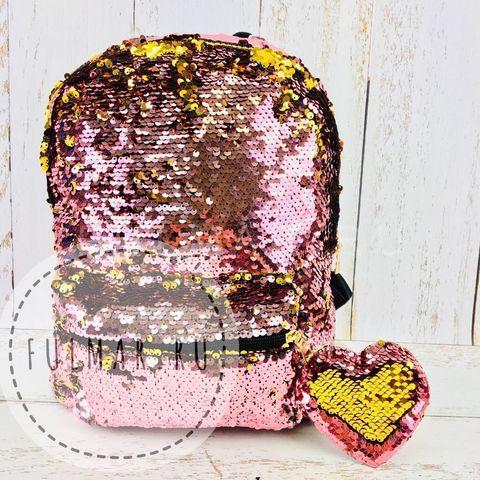Рюкзак детский  с пайетками меняющий цвет Розовый-Серебристый Большой и брелок сердце