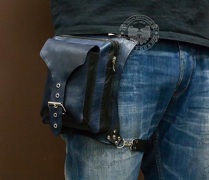 BAG369-5 Мужская набедренная сумка из кожи черного и синего цветов фото 10