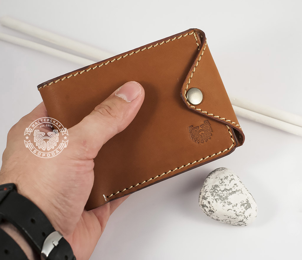 7b1c23ca6ada WB128-2 Мужской кошелек из натуральной кожи, ручной работы. «Boroda Design»