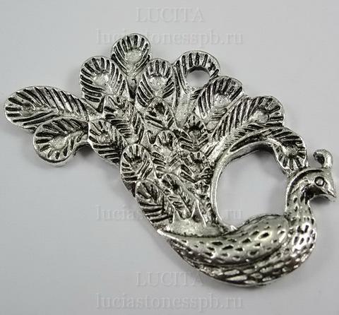 "Подвеска ""Павлин""  47х25 мм (цвет - античное серебро) ()"