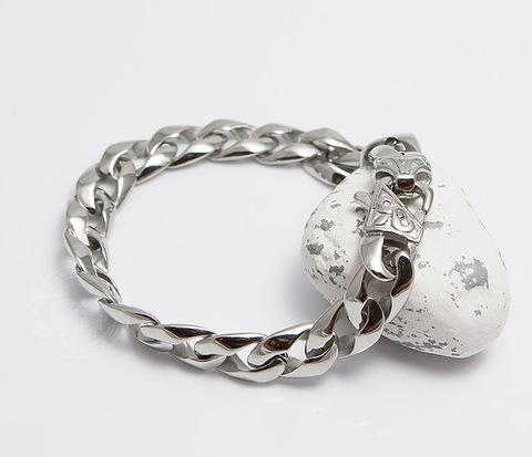 Классический мужской браслет цепочка из стали (21 см)