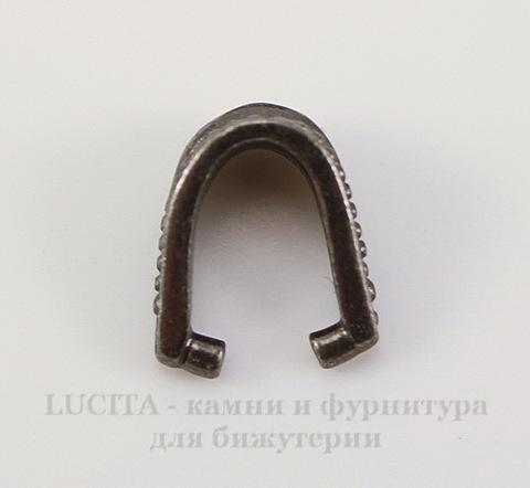 """Держатель для кулона TierraCast """"Королевский"""" 10х9х5 мм (цвет-черный никель)"""