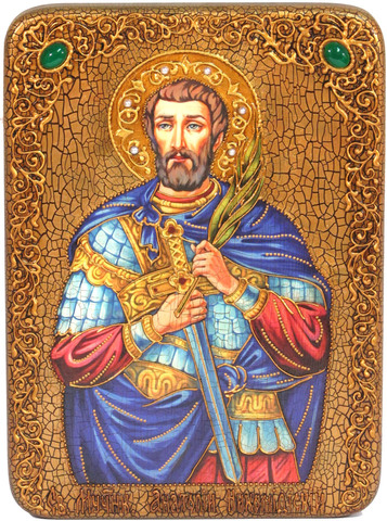Инкрустированная Икона Святой мученик Анатолий Никомидийский 29х21см на натуральном дереве, в подарочной коробке
