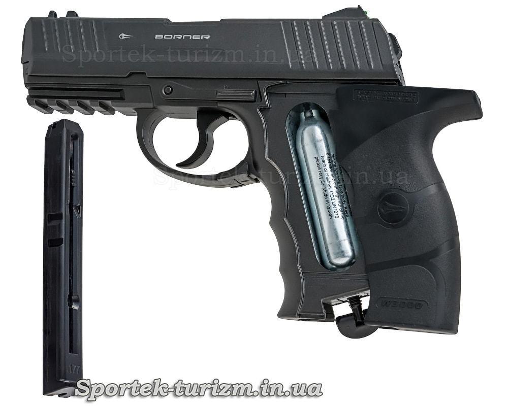 Магазин и баллон с СО2 пневматического пистолета Borner W3000M калибра 4,5 мм