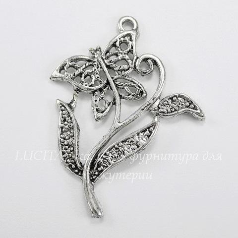 "Подвеска  ""Бабочка на цветке"" (цвет - античное серебро) 40х30 мм"