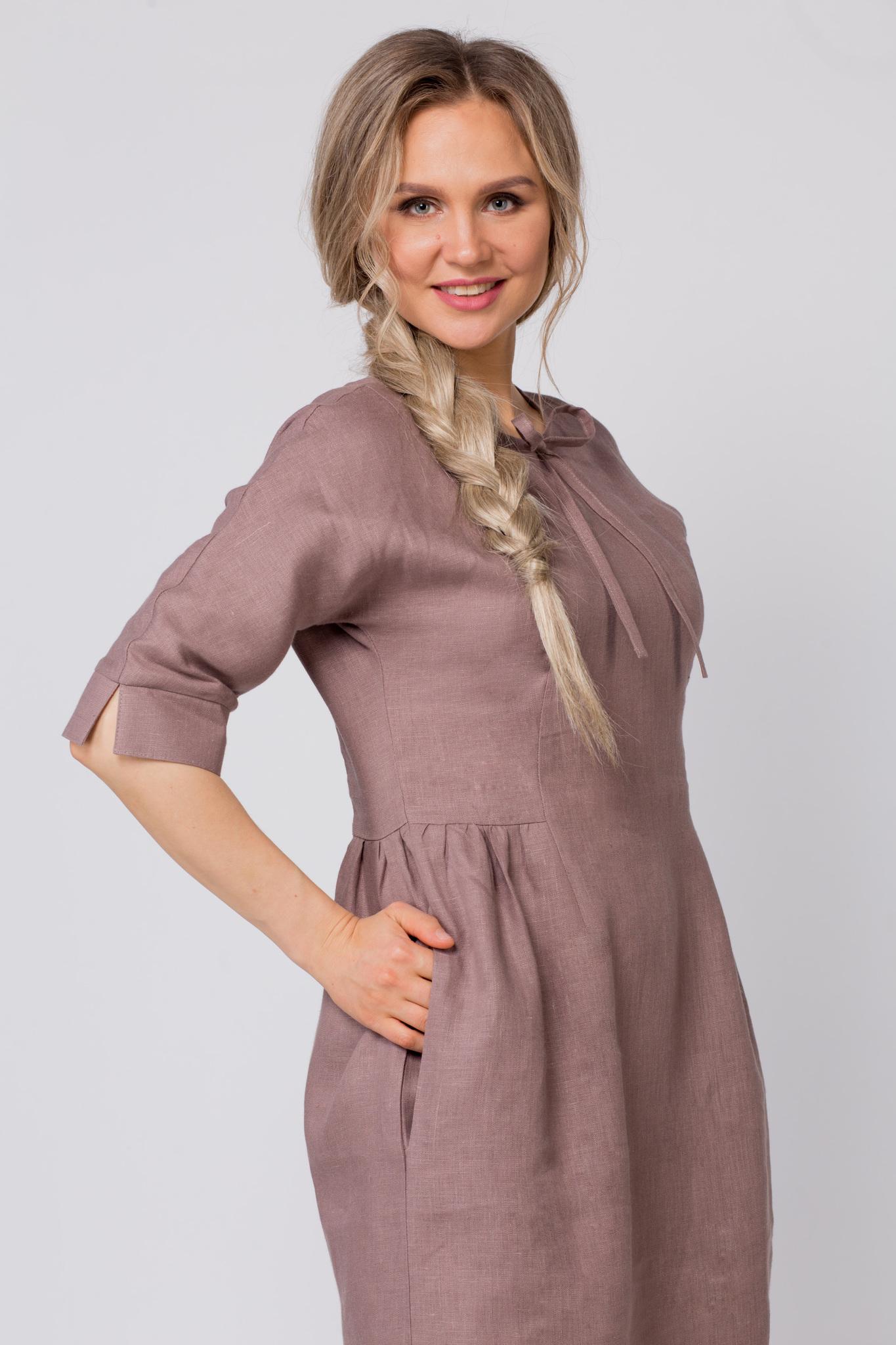 Платье льняное Какао купить