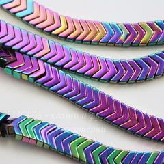 Бусина Гематит (искусств), шеврон, цвет - микс, 6х4х3 мм, нить