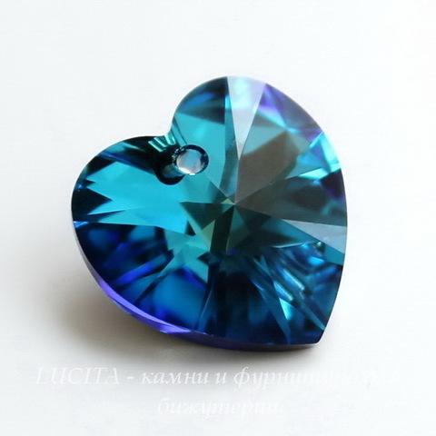 6228 Подвеска Сваровски Сердечко Crystal Bermuda Blue (18х17,5 мм)