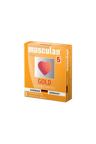Презервативы Masculan 5 Ultra , 3шт Золотого цвета ШТ фото