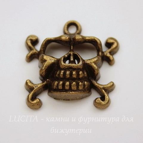 """Подвеска """"Череп"""" 23х22 мм (цвет - античная бронза)"""