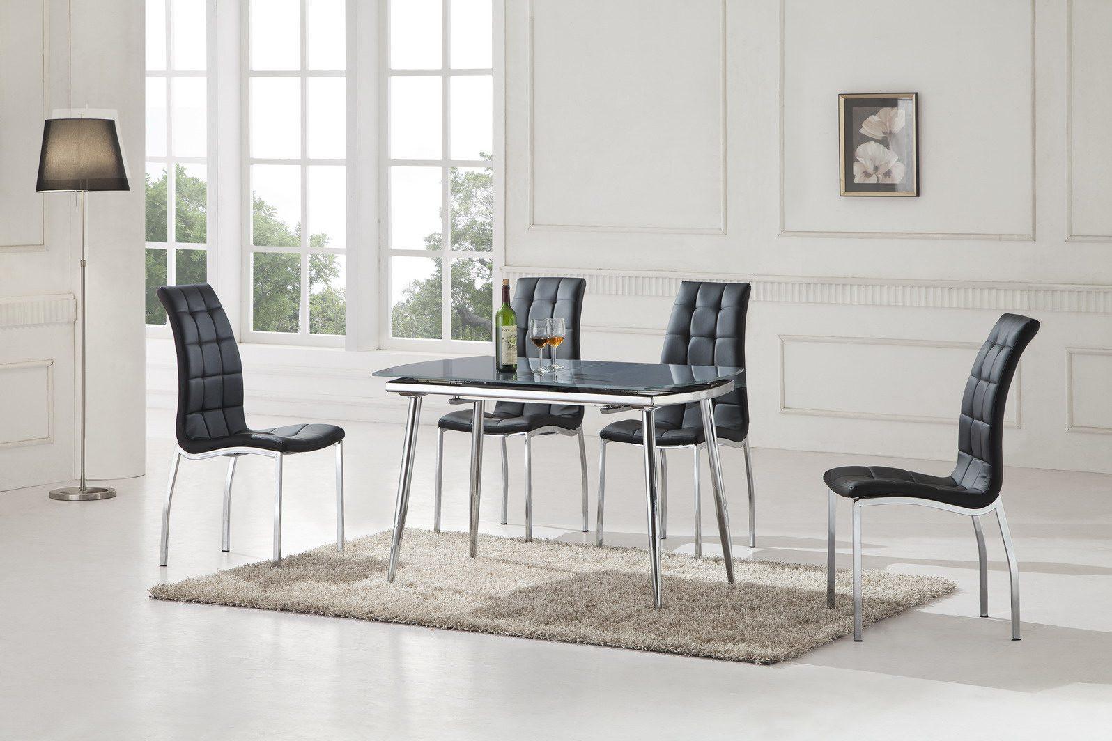 Стол ESF LT6230 серый, Стулья ESF365 черный