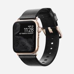 Ремешок Nomad Modern Strap (Slim) для Apple Watch 40mm/38mm кожа черный/золотой