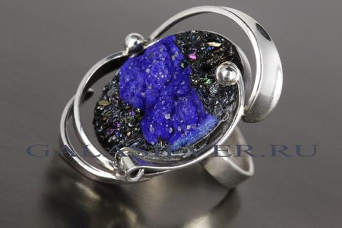 Кольцо с азуритом и карборундом из серебра 925
