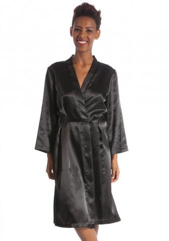 Чёрный шелковый халат с карманами