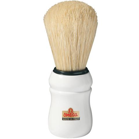 Помазок для бритья Omega,натуральный кабан белая ручка.Сделано в Италии 10049