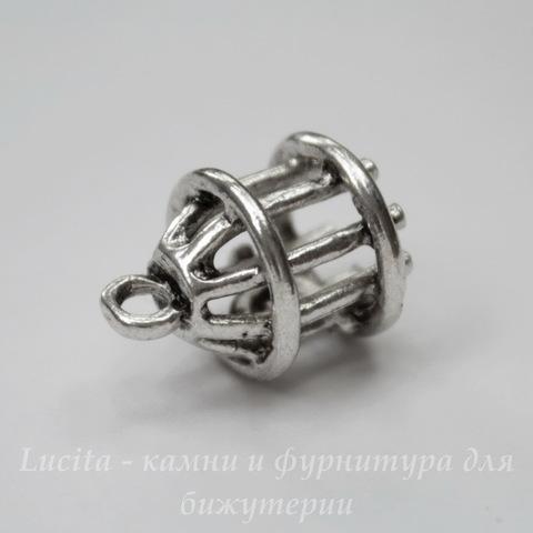 """Подвеска 3D """"Птичья клетка"""" 18х12 мм (цвет - античное серебро)"""