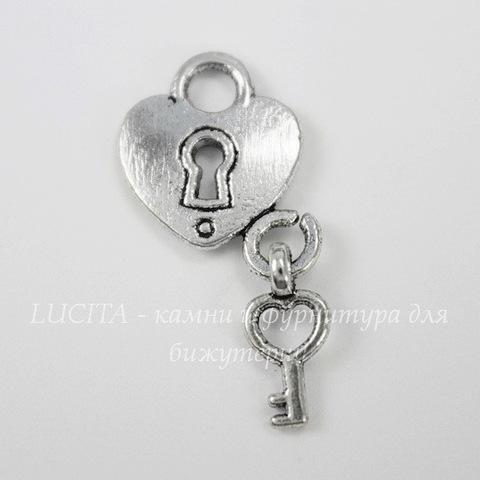 "Подвеска ""Сердце с ключиком"" (цвет - античное серебро) 26х13 мм"