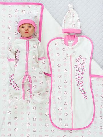 Набор одежды для новорожденного в роддом Звезды розовый