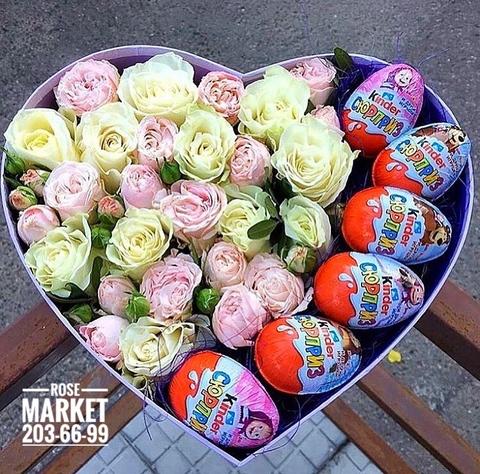 Розы и Киндеры в коробке-сердце #1621