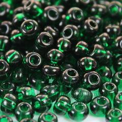 Бисер 5/0 Preciosa прозрачный, темно-зеленый