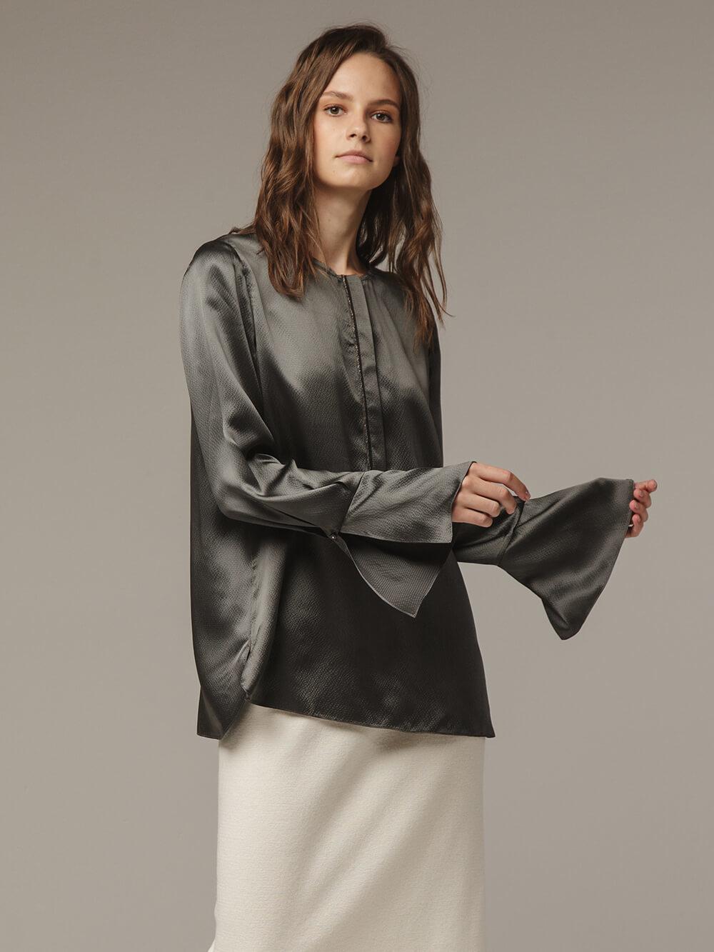 Женская темно-серая блузка из 100% шелка