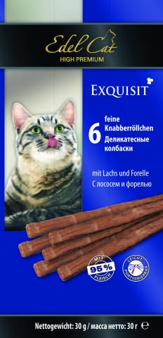 Лакомство Edel Cat для кошек. Деликатесные колбаски с лососем и форелью 1 уп