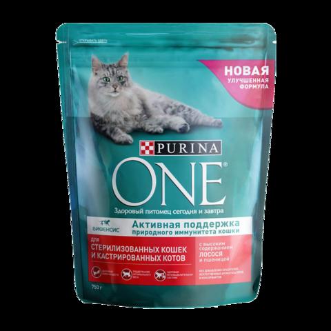 Purina One Sterilised Сухой корм для стерилизованных кошек и кастрированных котов Лосось и Пшеница