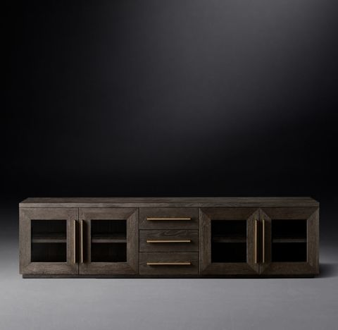 Machinto Glass 4-Door Media Console with Drawers