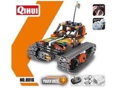 Конструктор QIHUI с мотором и радиоуправлением Трюковой вездеход (392 детали), оранжевый