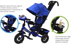 Детский трёхколёсный велосипед с ручкой и музыкой ( белый ) Sweet baby - колёса надувные