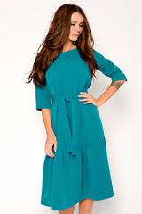 Платье свободного кроя с удлиненным воланом. Платье с поясом. Рукав 3/4. (Длина: 46=110см; 48=111см; 50=112см; 52=113см;)