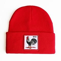 Вязаная шапка с принтом (эмблемой) Петуха красная