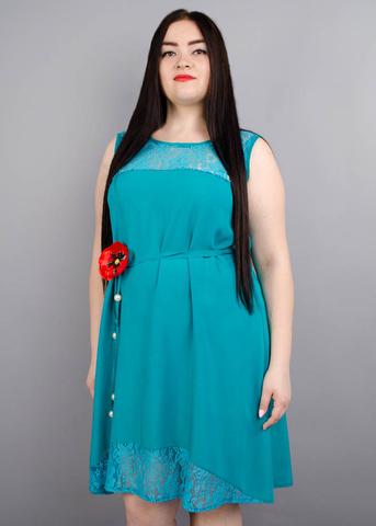 Маки. Сукня для жінок з пишними формами. Бірюза.