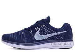Кроссовки Мужские Nike Flyknit Lunar Dark Blue White