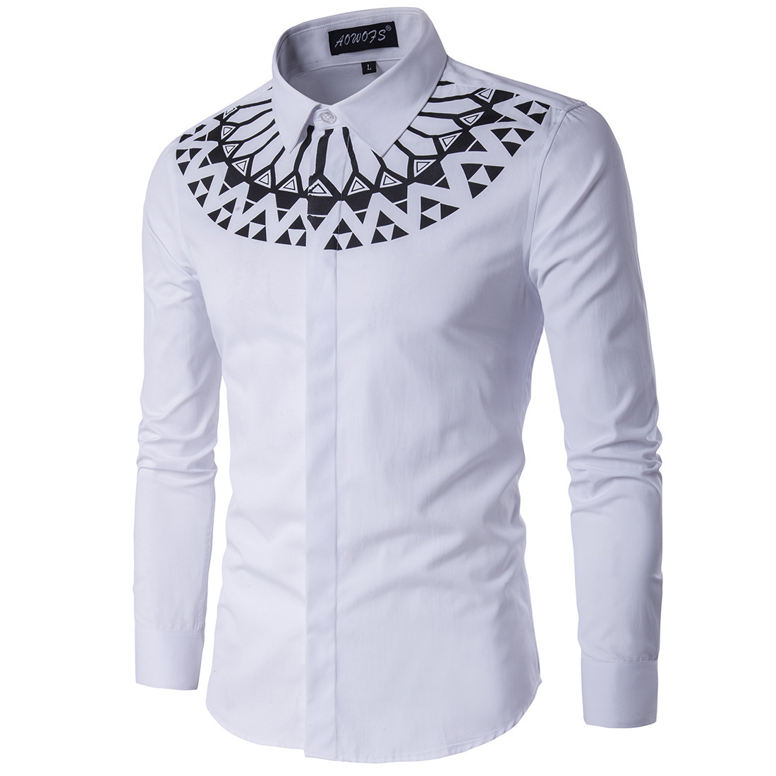 Мужская рубашка с орнаментом Slim Fit 3451710890_944273139.jpg