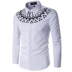 Мужская рубашка с орнаментом Slim Fit