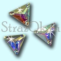 Стразы пришивные акриловые Triangle Crystal AB, Треугольник Кристал АБ прозрачный с радужным покрытием на StrazOK.ru