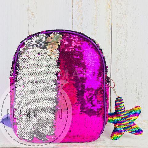 Рюкзак детский фиолетовый с пайетками меняющий цвет Фиолетовый-Серебристый и брелок Звезда