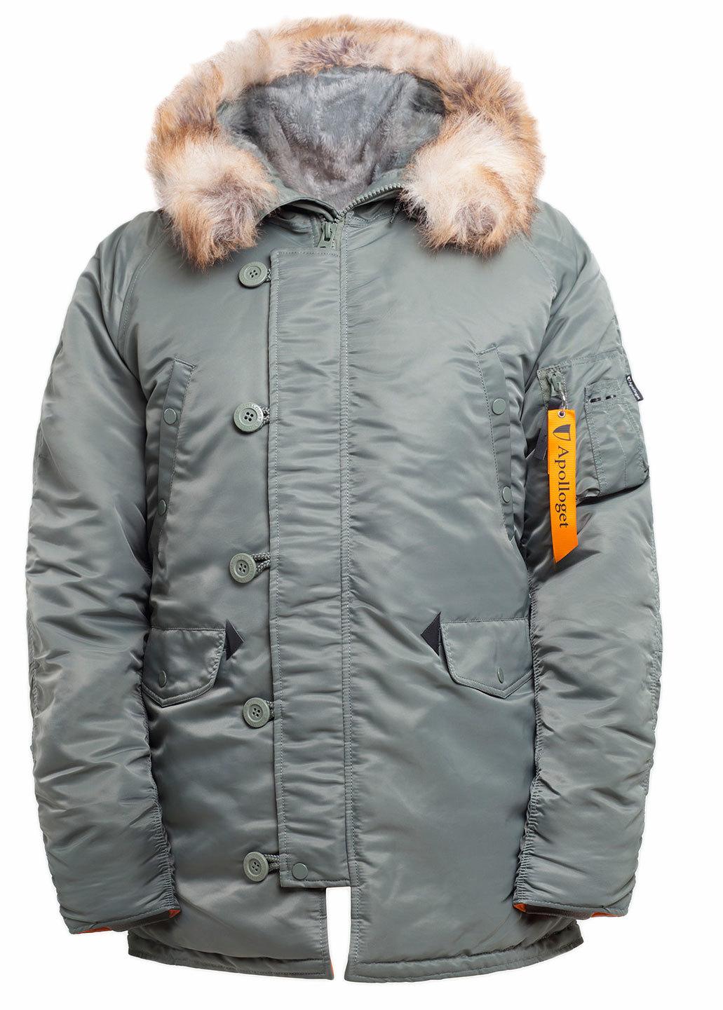 Куртка Аляска  N-3B  Husky Apolloget 2019 (оливковый - olive/orange)