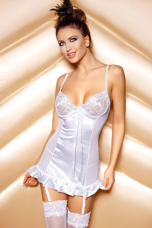 Белая сорочка со шнуровкой (Короткие эротические сорочки)