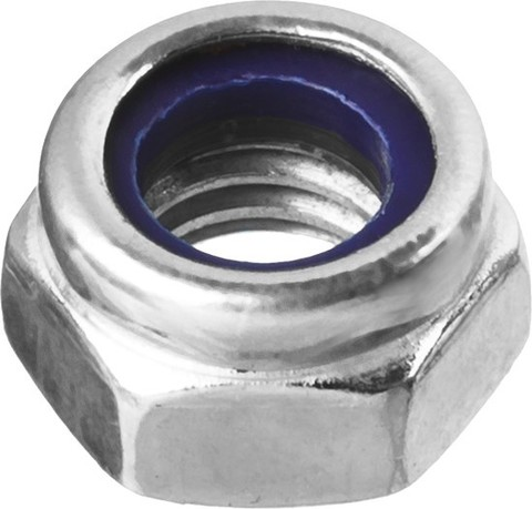 Гайка DIN 985 с нейлоновым кольцом, M4, 5 кг, кл. пр. 6, оцинкованная, ЗУБР