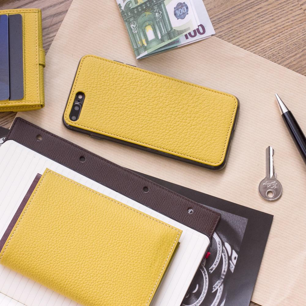 Чехол-накладка для iPhone 8 Plus из натуральной кожи теленка, желтого цвета